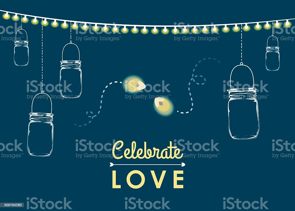 Hanging mason jars with firefly bugs vector art illustration