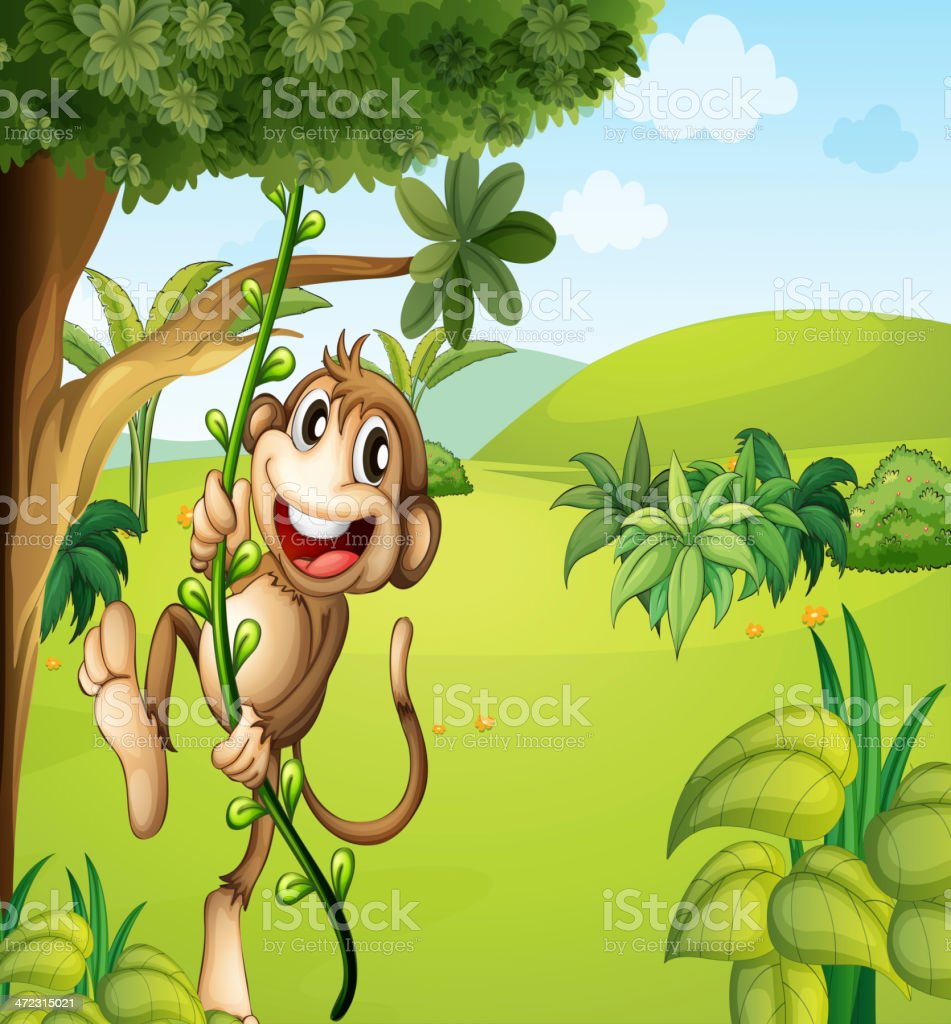 Hanging monkey and a beautiful nature royalty-free stock vector art
