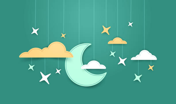 illustrazioni stock, clip art, cartoni animati e icone di tendenza di hanging moon and stars background - dream