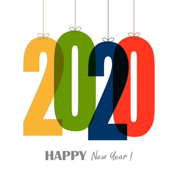 hanging numbers new year 2020 - new years day stock illustrations