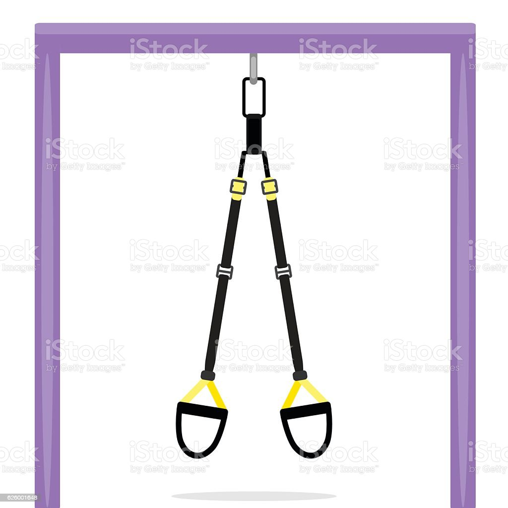 TRX hanging on bar vector art illustration