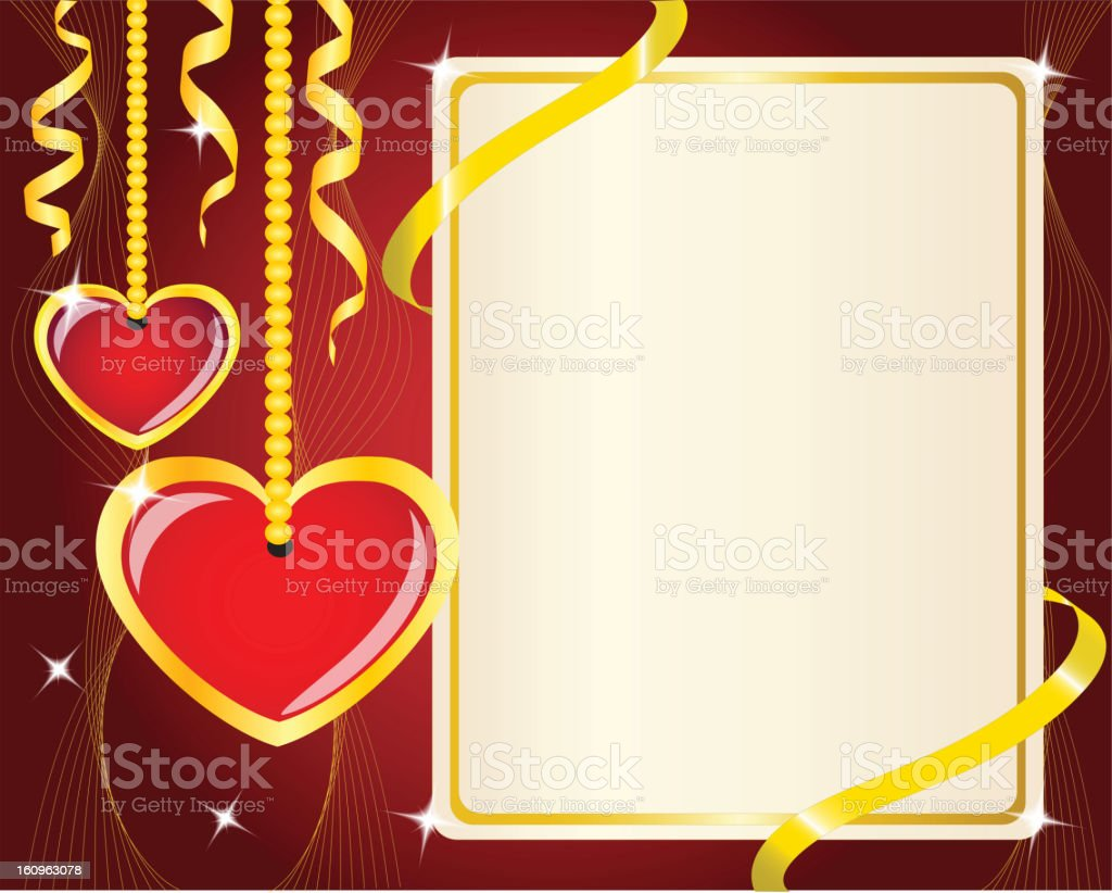 Hanging red hearts and poster royalty-free stock vector art