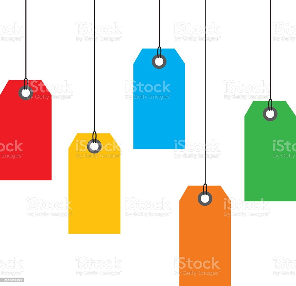 Hanging Sales tags vector art illustration