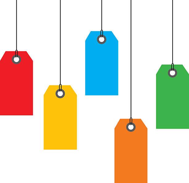 hanging sales tags - przywieszka z ceną stock illustrations