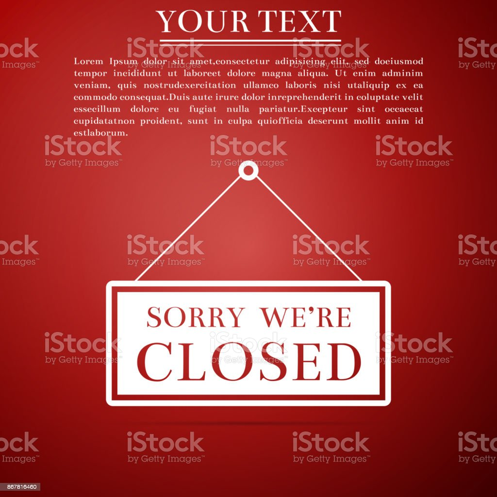 Hanging Sign With Text Sorry Were Closed Icon Isolated On