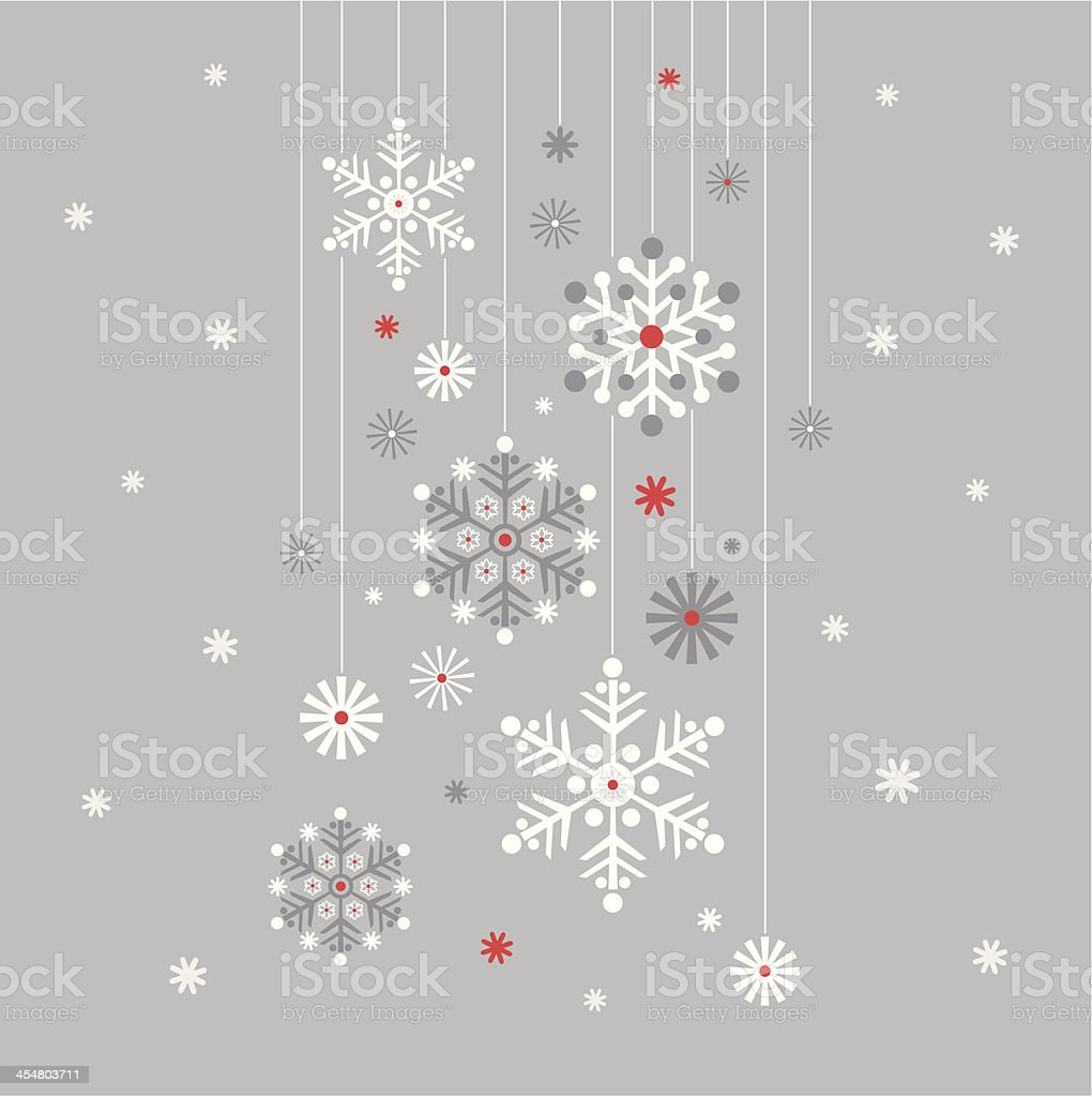 Hanging Snowflake on Silver vector art illustration