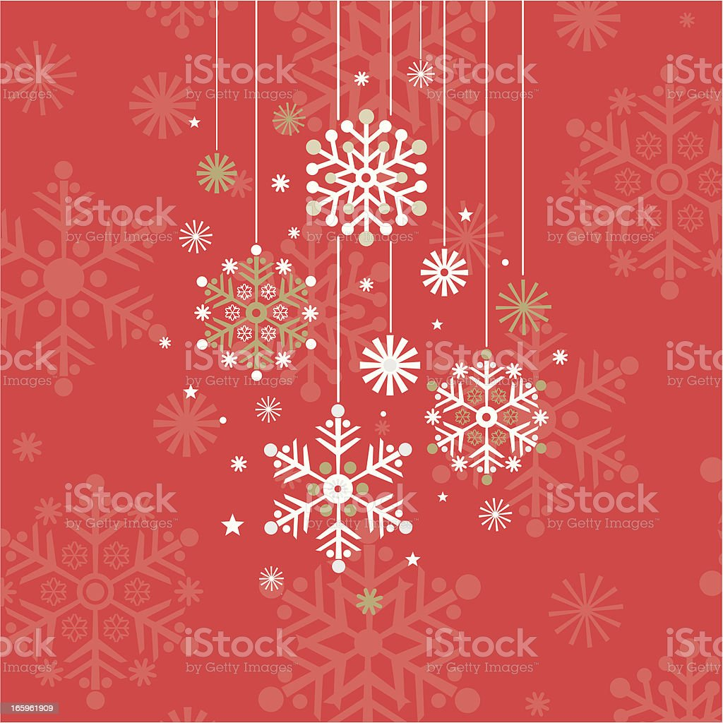 Hanging Snowflakes on Red Background royalty-free stock vector art