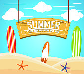 Hanging Summer Surfing Sign with Colorful Surfboards