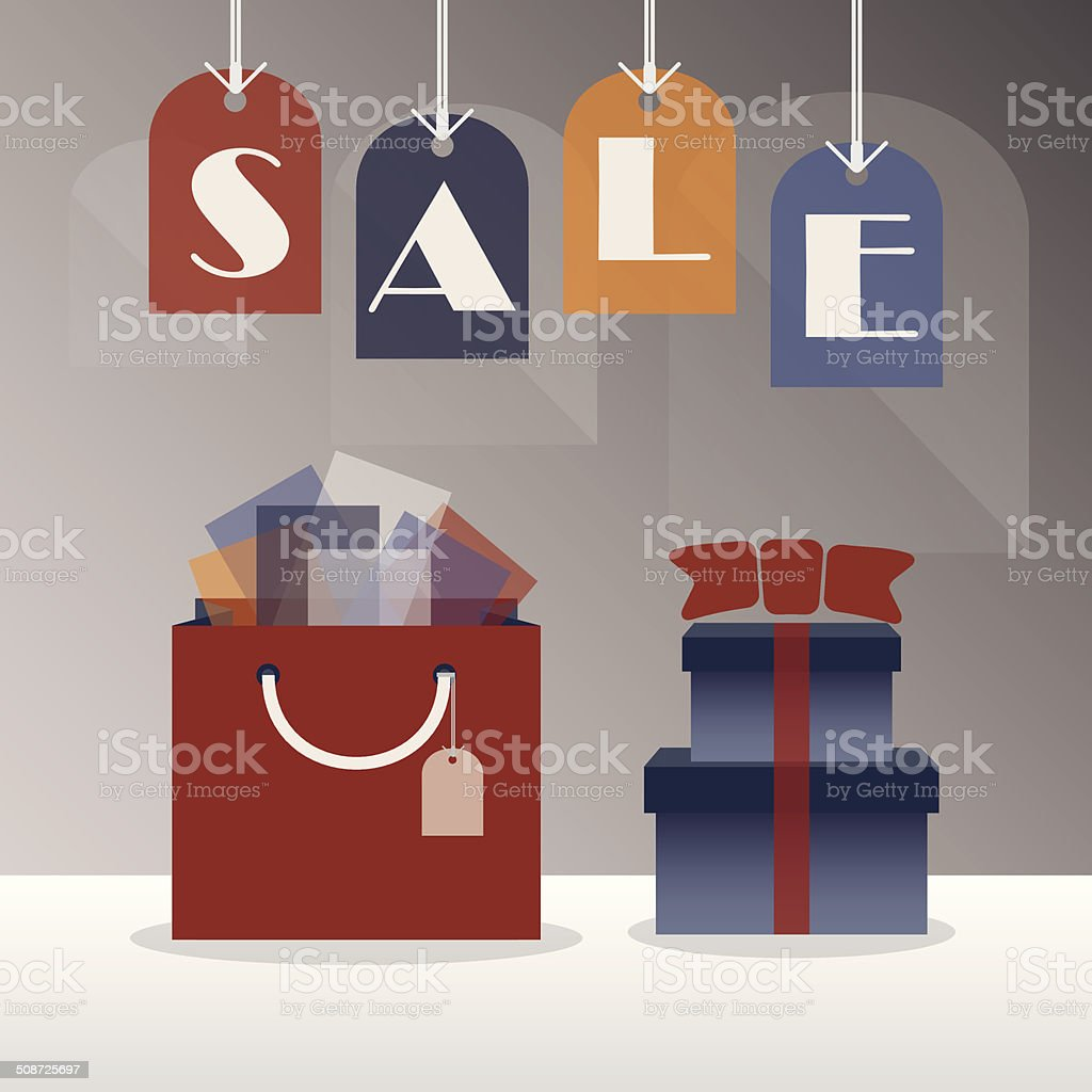 SALE hanging tags - with gift bag and gift boxes vector art illustration
