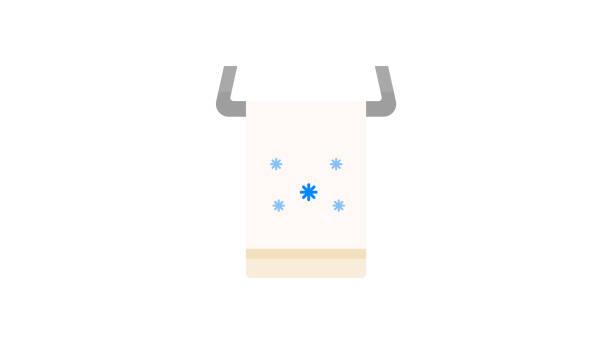 hängende handtuch symbol - waschküchendekorationen stock-grafiken, -clipart, -cartoons und -symbole
