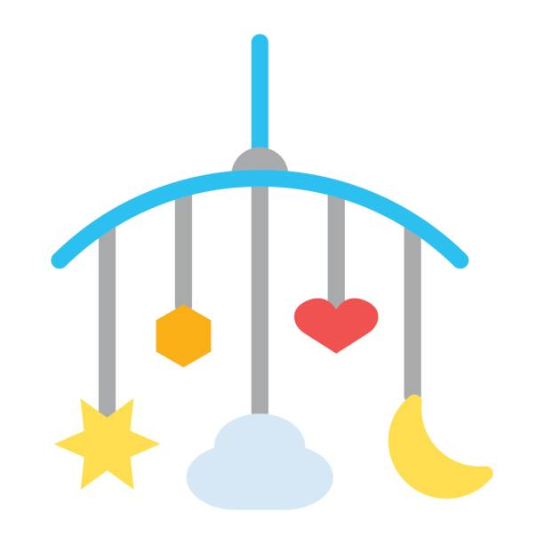 ilustrações, clipart, desenhos animados e ícones de suspensão ícone plana de brinquedos, brinquedos do berço de bebê, gráficos vetoriais, padrão de um sólido colorido sobre um fundo branco, eps 10. - mobile