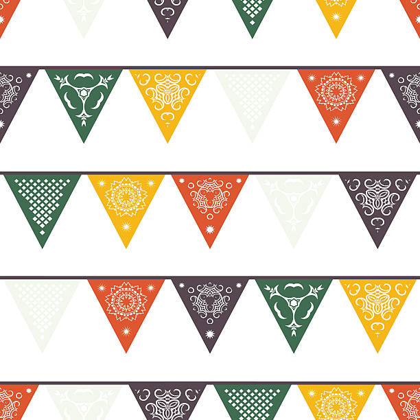 Hängende traditionelle mexikanische platzierten Bannern, Flaggen, Elektrische Lichter Girlanden. – Vektorgrafik