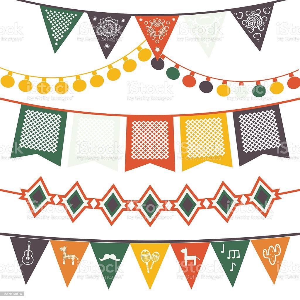bandeiras mexicano tradicional suspensos, bandeiras, luzes elétricas guirlandas. - ilustração de arte em vetor
