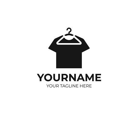 Hanging t-shirt design. Hanger and black t shirt vector design. Clothing design