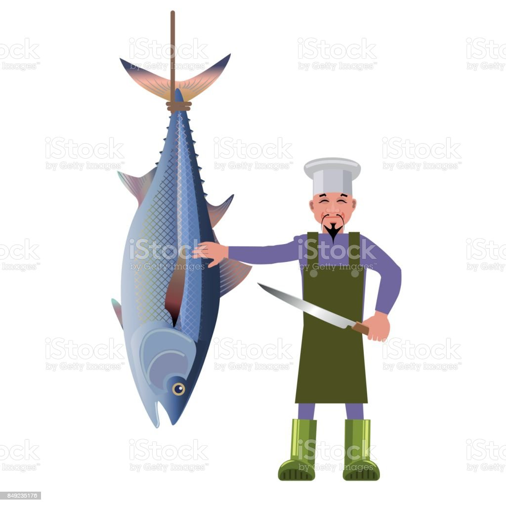 Hanging tuna and chef vector art illustration