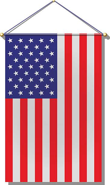 Hanging U. S. Flag vector art illustration