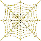 Golden hanging web with drops of dew in the form of circles