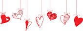 Vector illustration of seven different red hearts hanging from string.