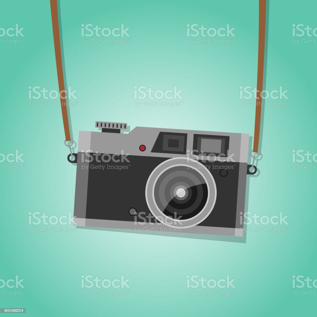 Hanging vintage camera. Vector. vector art illustration