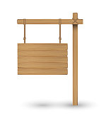 hanging wood board sign on a white background