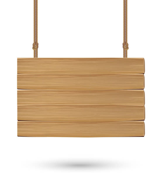 hanging wood board signs on a white background - transparent stock illustrations