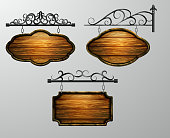 hanging, wooden Board vector, wooden object for text.