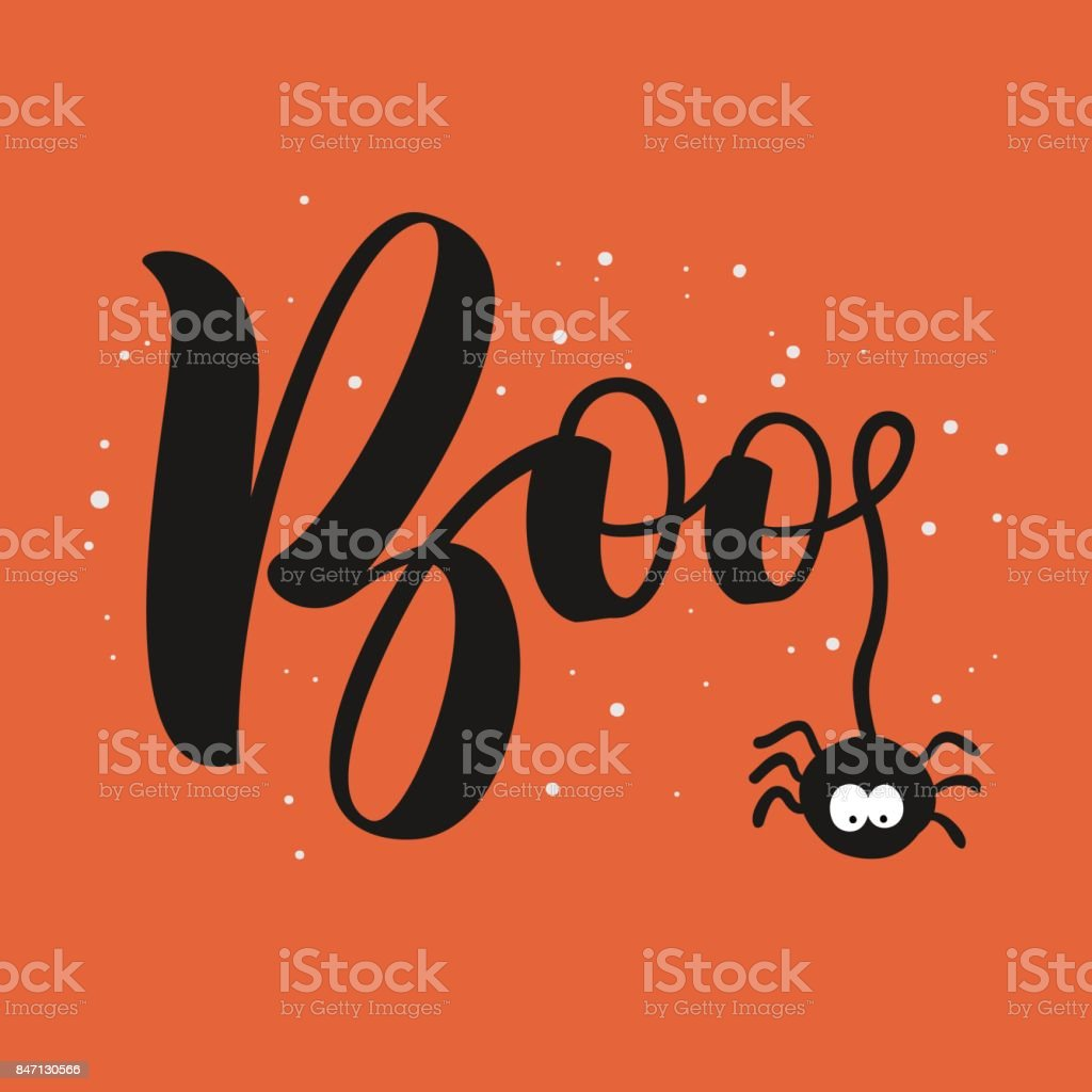 Hanging word boo text with spider happy halloween greeting card hanging word boo text with spider happy halloween greeting card royalty free hanging m4hsunfo