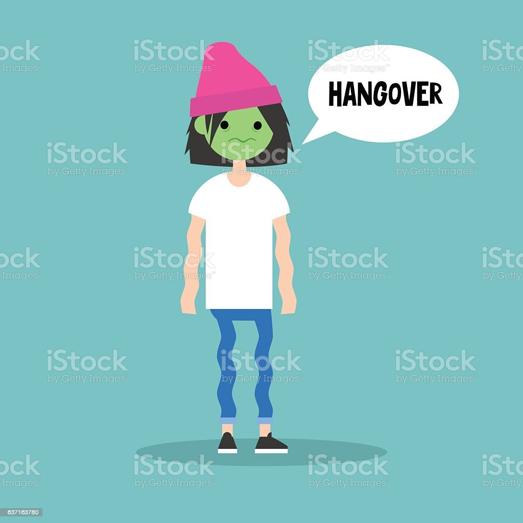 Hangover. Sick brunette girl with green face vector art illustration