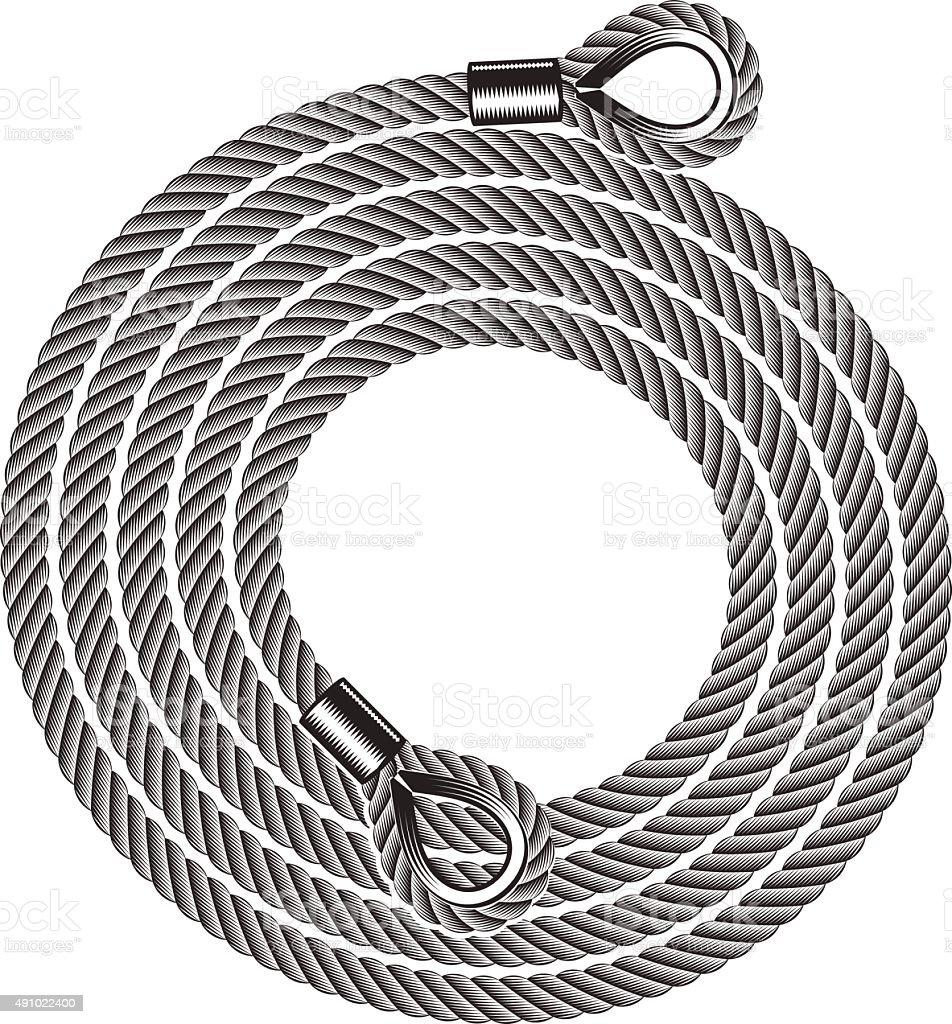 hank of tow ropes vector art illustration