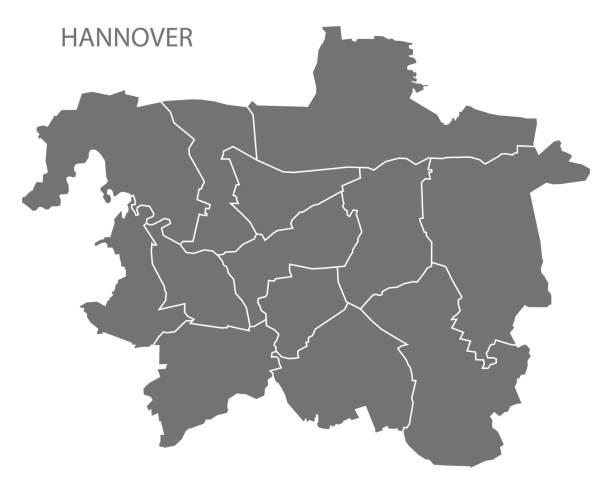 hannover-stadtplan mit bezirken grau abbildung silhouette form - hannover stock-grafiken, -clipart, -cartoons und -symbole
