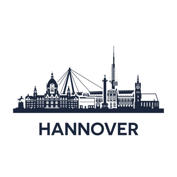 skyline der stadt hannover - hannover stock-grafiken, -clipart, -cartoons und -symbole
