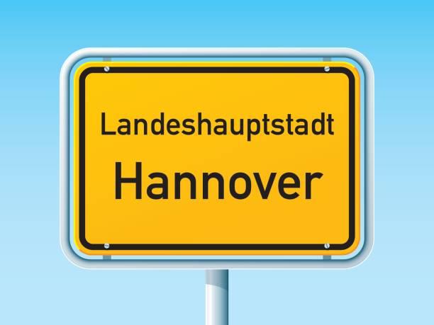 hannover deutsche stadt straßenschild - hannover stock-grafiken, -clipart, -cartoons und -symbole