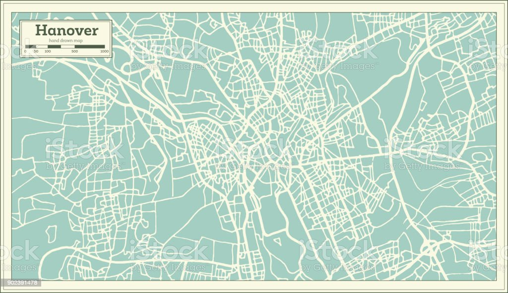Hannover Germany City Map In Retro Style Outline Map Stock Vector
