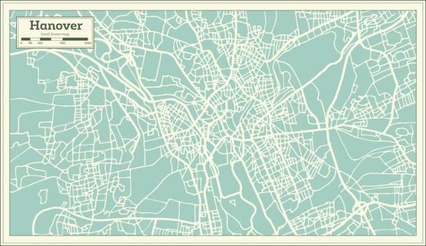 hannover deutschland stadtplan im retro-stil. der umriß. - hannover stock-grafiken, -clipart, -cartoons und -symbole