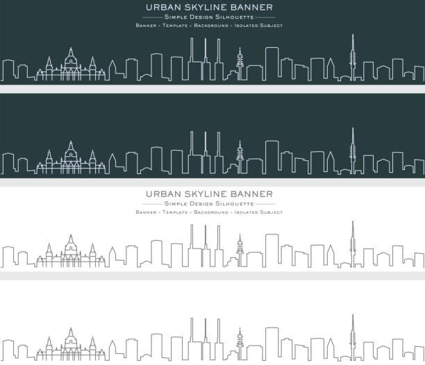 hannover single line skyline banner - hannover stock-grafiken, -clipart, -cartoons und -symbole