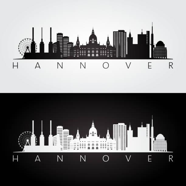 hannover skyline und wahrzeichen silhouette, schwarz / weiß design, vektor-illustration. - hannover stock-grafiken, -clipart, -cartoons und -symbole