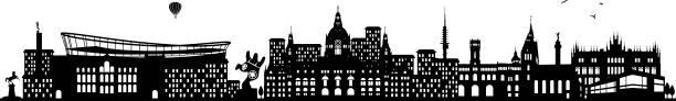 hannover skyline schwarz - hannover stock-grafiken, -clipart, -cartoons und -symbole