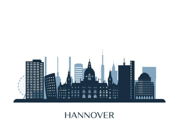 hannover skyline, monochrome silhouette. vektor-illustration. - hannover stock-grafiken, -clipart, -cartoons und -symbole