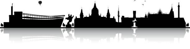 hannover skyline silhouette schwarz - hannover stock-grafiken, -clipart, -cartoons und -symbole