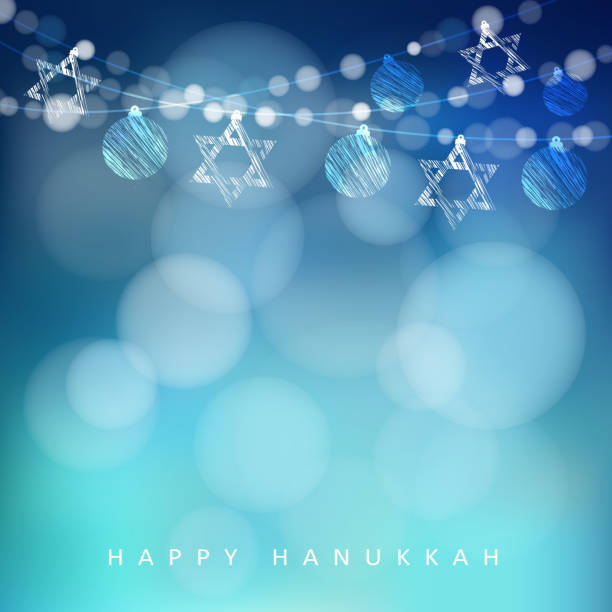 ilustraciones, imágenes clip art, dibujos animados e iconos de stock de hannukah: imágenes tarjeta de felicitación, garland de las luces y las estrellas vector de judías - jánuca