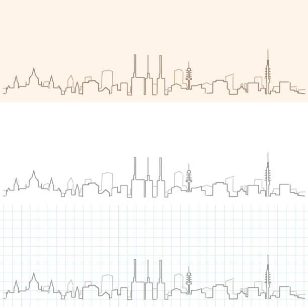 hannover hand gezeichnete skyline - hannover stock-grafiken, -clipart, -cartoons und -symbole