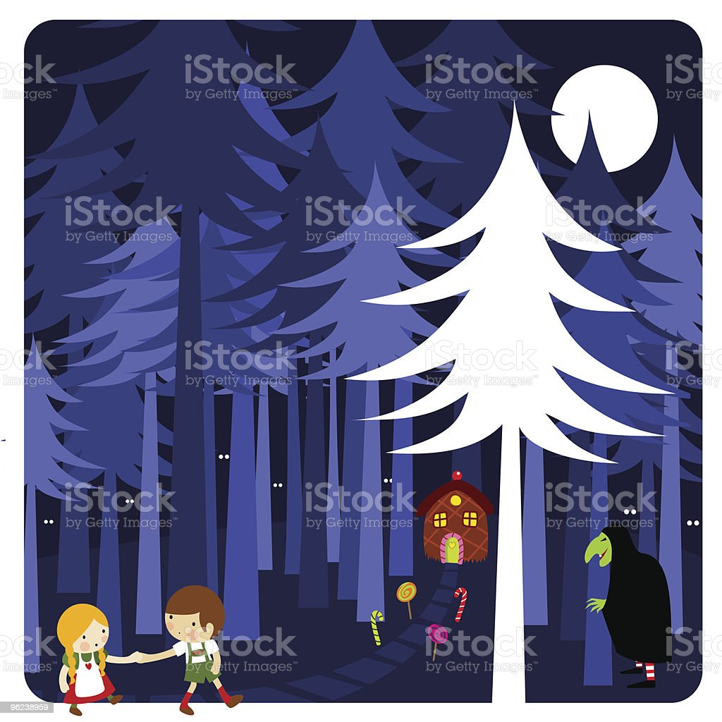 Hansel & Gretel vector art illustration