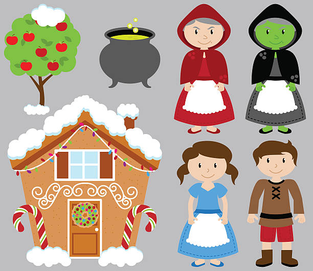 hansel and gretel vector collection with witch and gingerbread house - old man puppet stock illustrations, clip art, cartoons, & icons