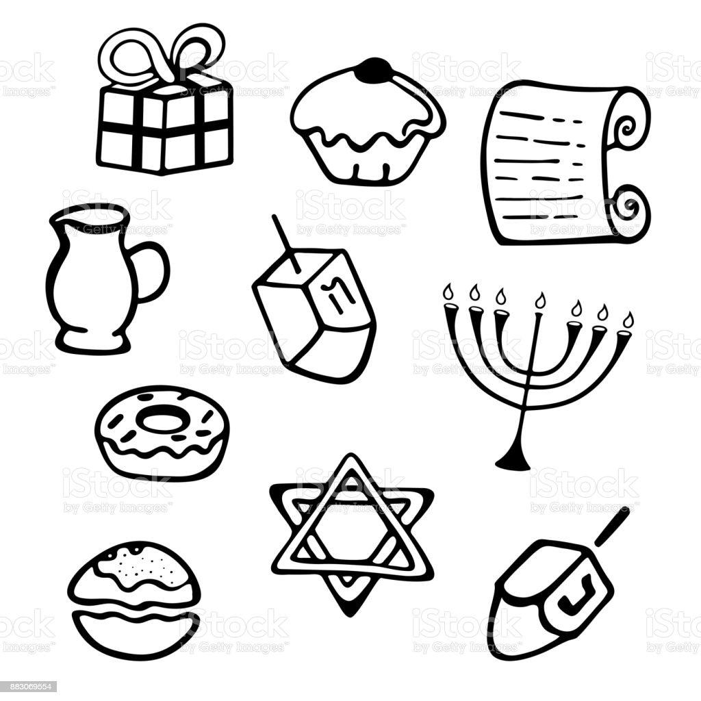 Hanukkah A Set Of Traditional Attributes Of The Menorah Dreidel