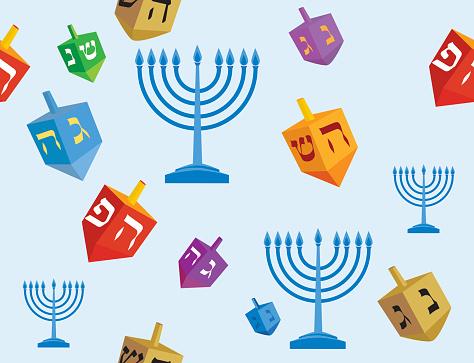 Hanukkah background of dreidels and menorah