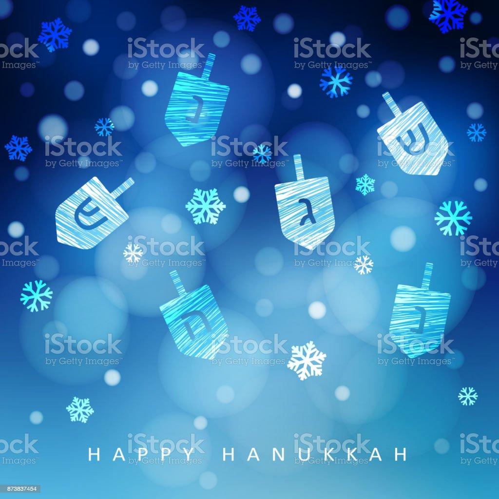 Fond de Hanukkah bleu avec des chutes de neige, la lumière et dreidels. Illustration de vecteur floue fête moderne pour la fête juive de vacances lumineuse - Illustration vectorielle