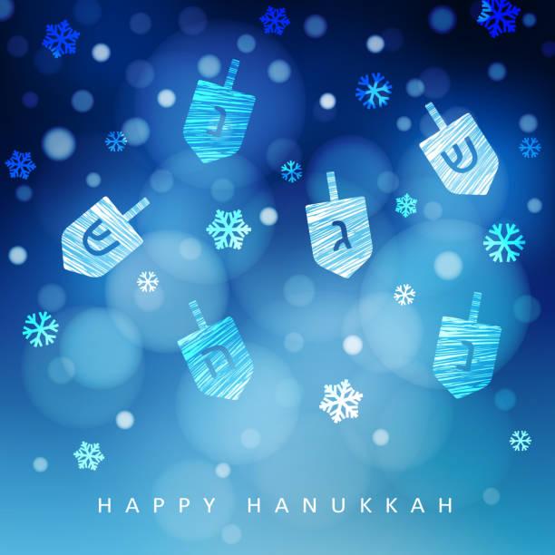 ilustraciones, imágenes clip art, dibujos animados e iconos de stock de fondo azul de hanukkah con la nieve que cae, la luz y dreidels. ilustración moderna festivo vector borrosa para festival judío de la luz vacaciones - jánuca