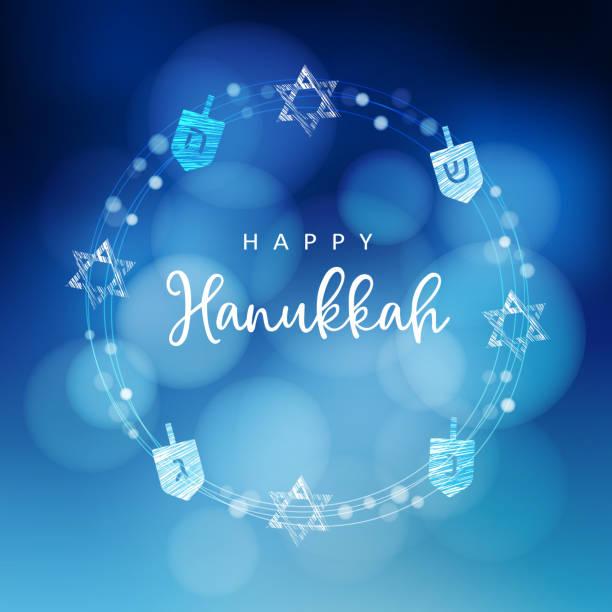ilustraciones, imágenes clip art, dibujos animados e iconos de stock de fondo de hanukkah azul con corona de luz, estrellas judías y dreidels. decoración del partido festivo. ilustración de vector borrosa moderno para festival judío de la luz. - jánuca