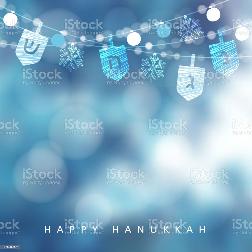 Hanukkah blue greeting card, invitation with string of lights, dreidels and snowflakes. Party decoration. Modern festive blurred vector illustration background for Jewish Festival of light holiday vector art illustration