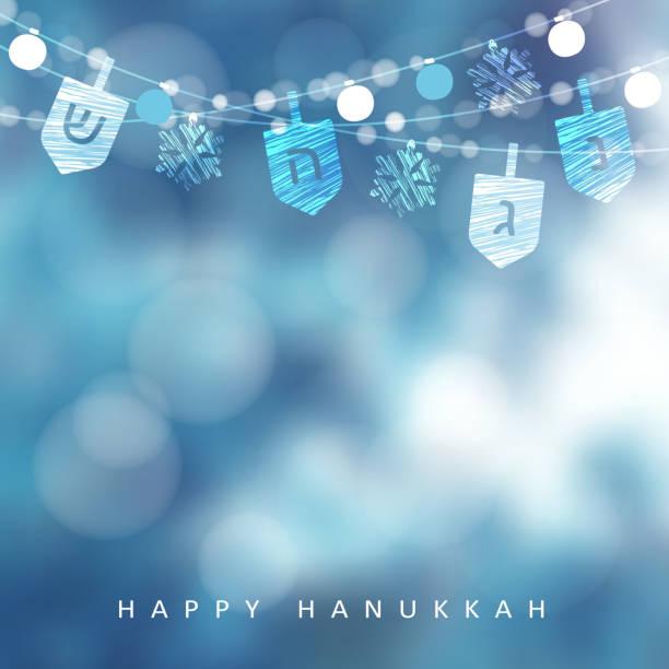 ilustraciones, imágenes clip art, dibujos animados e iconos de stock de tarjeta de felicitación azul de hanukkah, invitación con la secuencia de luces, dreidels y copos de nieve. decoración del partido. fondo de ilustración moderna festivo vector borrosa para el festival judío de la luz vacaciones - jánuca